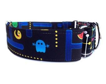 Arcade Dog Collar - Retro Arcade Tech Geekery Martingale Collar or Buckle Dog Collar