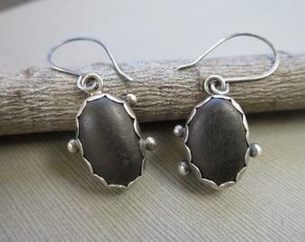 Beachstone Earrings, Sterling Silver Earrings, Dangle Earrings, Beach Stone Earrings, Handmade