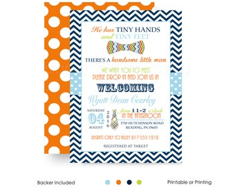 Bow Tie Sip and See Invitations Boys Baby Shower - Invites Navy Chevron - Little Man - Meet Greet Party - Personalize Digital or Printing