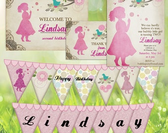 Vintage Blowing Bubbles Birthday Party Decor Pack - Pastel Pink - digital