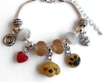 Bracelet  european charm golden retriever dog and paw footprint