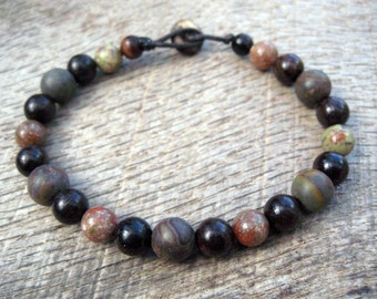 Mens surfer bracelet, jasper and wood beads, beautiful natural materials on strong cord with a toggle and loop clasp, tribal style jewelry
