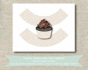 Twinkle, Twinkle Little Star Cupcake Wrapper PRINTABLE - Instant Download - First Birthday Party Decor