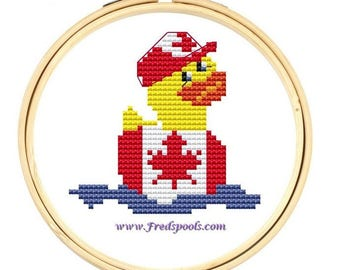 Canadian Flag Rubber Duck- cross stitch kit
