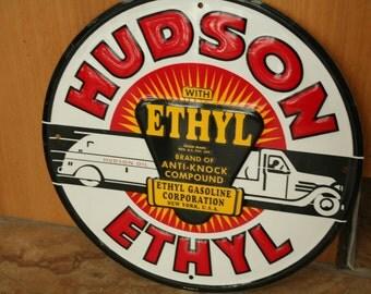 Hudson Ethyl, Stamped Sign, Red, White, Yellow, Black, American Car, Car Lover, Man Cave, Man, Advertising  Sign, Garage, Man Cave, Man