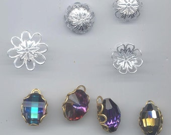 24 awesome vintage silver tone pliable filigree bead caps that can be used to wrap 18 x 13 mm crystal stones!  16.5 x 5.2 mm