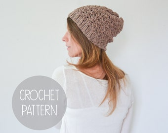 CROCHET PATTERN - slouchy crochet beanie - the charlotte