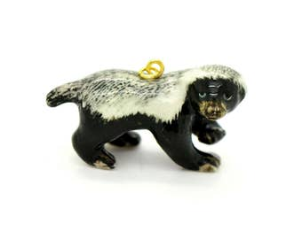 Porcelain Honey Badger Pendant Hand Painted Glaze Ceramic Animal Small Ceramic Badger Bead Jewelry Making Supplies ()