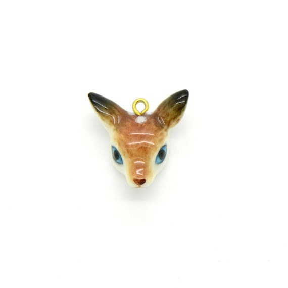 porcelain deer fawn head pendant hand painted porcelain baby deer head