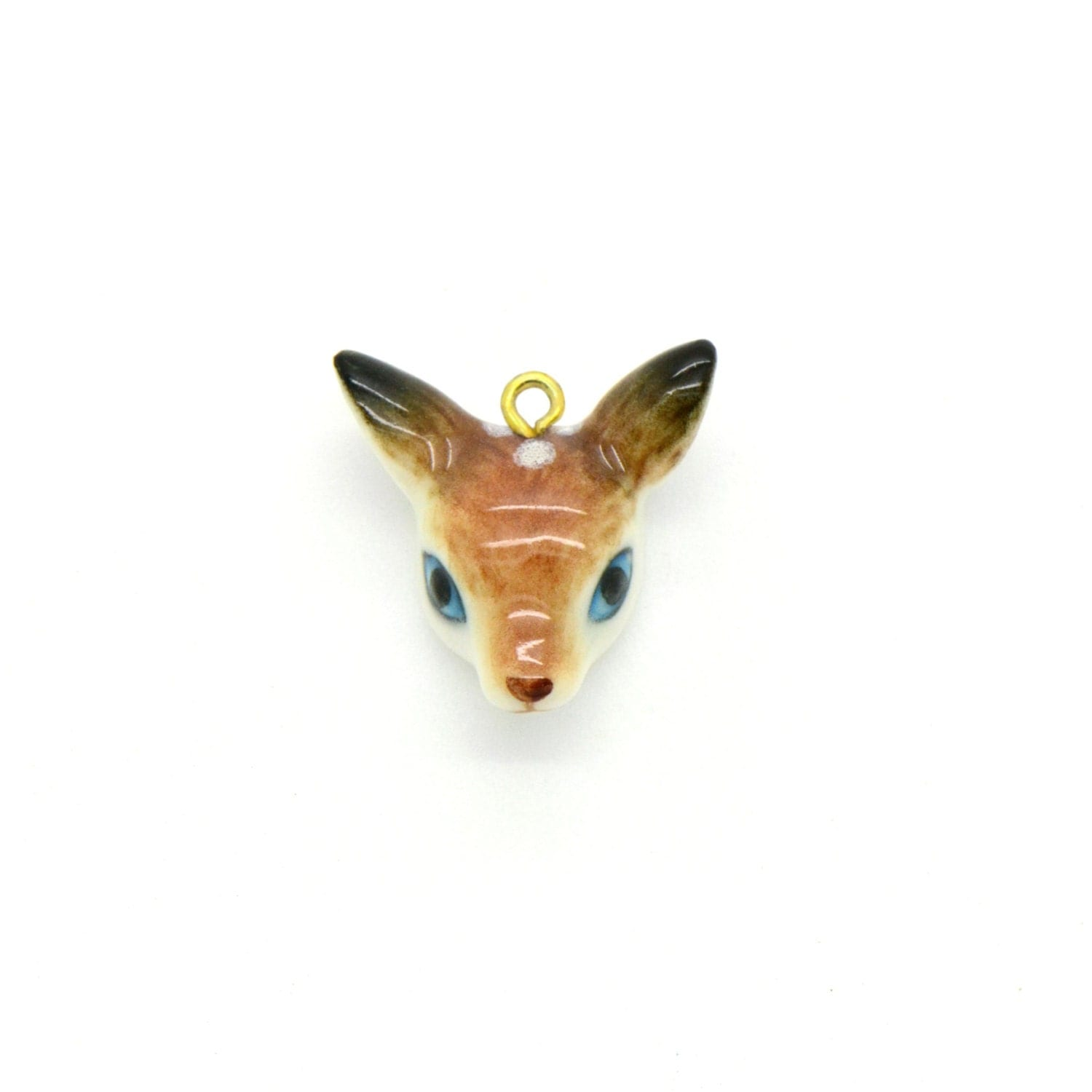 tiny porcelain deer fawn head pendant hand painted porcelain