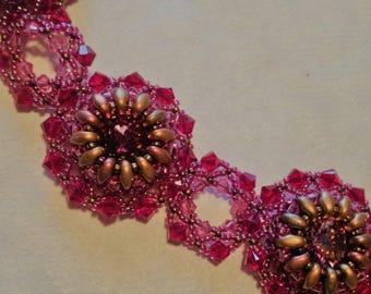 Ruby Lotus Flower Swarovski Crystal Bracelet