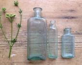 Vintage Trio Glass Bottles - Aqua, Rustic & Worn