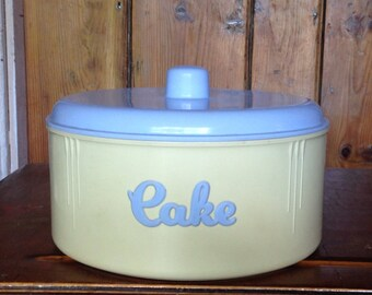 Vintage Eon Cake Canister - Cream & Baby Blue