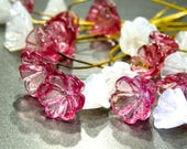 SUPPLY: 14 Pale Rose and Milky White Glass Flower Headpins - Handcrafted Glass Headpins - Millinery - Flower Beads - SKU 8-E2-00007863