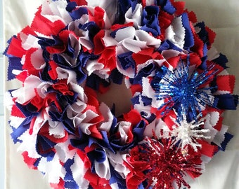 Americana Wreath, Patriotic Decor, Independence Day, Patriotic Wreath, Summer Wreath, Red White Blue, 4th of July Wreath, Wall Decor
