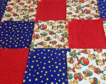 """Pre Fringed Rag quilt kit 75 pre cut 8.5"""" squares, 3 layers of flannel, swimming fish, ready to sew, finished is approx 35x35"""