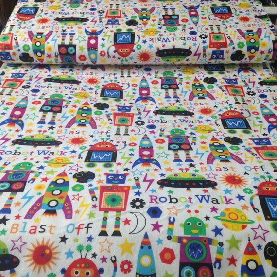 Robot space creatures robot and rocket flannel fabric for Space flannel fabric