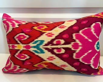 Pink, Magenta, Yellow and Ivory Sateen Ikat Pillow Covers in HGTV HOME Market Marvel Sateen Sunset