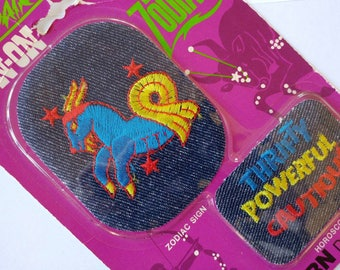"""Funky Vintage 1975 Capricorn """"Astro-Pair"""" Iron On Denim Patches- Embroidered Zodiac Astrology Upcycle Sewing Crafting Colourful Hippie"""