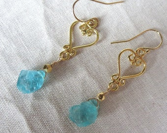 Natural Raw Apatite and 14k Gold Filled Earrings