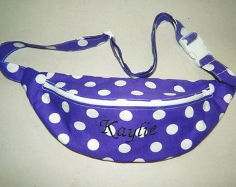 Purple and White Dot Fanny Pack - Hip Bag - Women and Teen Girls Hip Pouch