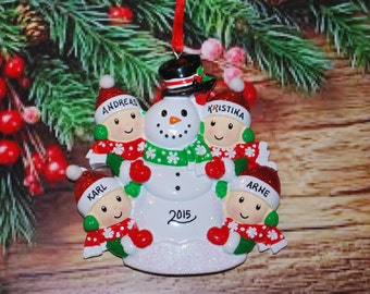 Personalized Family of 4 Building Snowman with Optional Pet Christmas Ornament