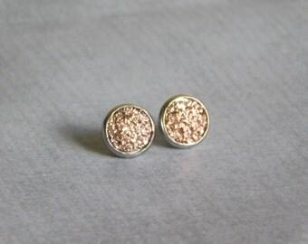 Rose Gold Stud Earrings - Resin Druzy Posts