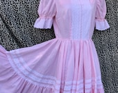 Vintage Pink Gingham Square Dance Dress with Circle Skirt. Dolly Parton, Honky Tonk, Country Western, Doll, Little Girl Costume. Adult S/M