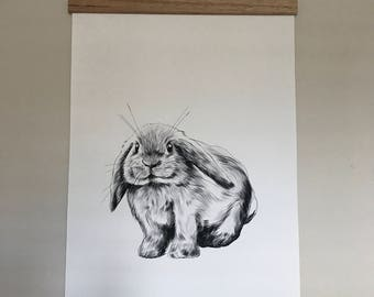 Baby Bunny black and white Hand-drawn Canvas Print A2