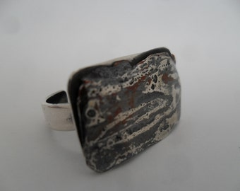 Contemporary Ring. Mokume Ring. Sterling Silver Ring. Mokume Gane Ring. Adjustable Ring.