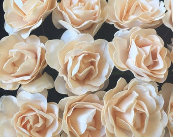Set of 12 cream Mulberry Paper Flowers