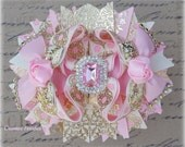 Big Pink Gold Bows, Over the Top Hair Bows, Pink and Gold Hair Bow, Pink Gold Birthday