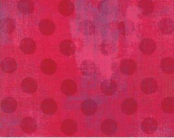 Grunge Hits the Spot - Dots in Raspberry - Basic Grey for Moda - 30149-23 - 1/2 yard