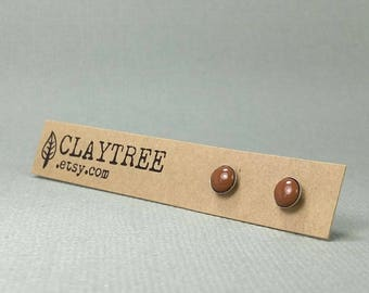 TOFFEE Stud Earrings - Brown - Hypoallergenic - Surgical Steel Studs  - Tiny Post Earrings - 4mm 5mm 6mm - Polymer Clay - Everyday Earrings