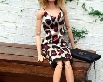 Animal-print Satin Midi Slip Dress for Barbie Made to Move, Poppy Parker and similarly-sized dolls