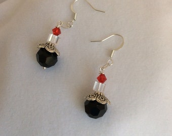 Black Swarovski crystal, silver lacy cap with red and clear Swarovski crystal earrings - Sale