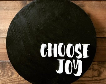 Choose Joy Round Wall Hanging, Finished, Wood Cutout, Naken, Unfinished