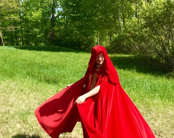 Crimson Red Hooded Cloak, Capewith arm slits, medium weight stretch velvet, full- length cloak, ties in the front! Wonderful to move in!
