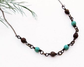 Green Bead Necklace, Gemstone, Beaded Jewelry, Bohemian, Short Necklace, Turquoise Blue, Layering Necklace, Bohemian Jewelry