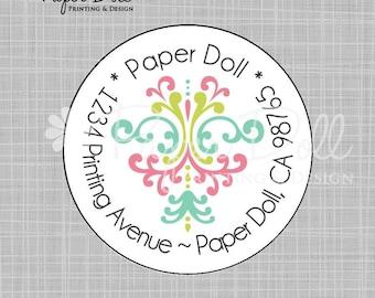 "Damask Design Circle Labels - 2"" Circle Address labels"