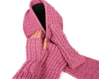Knitted Mock Cable Plum Wine Scarf and Wristlets