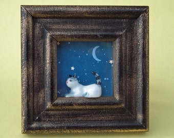 Miniature room with a view, shadow box, picture frame, window sill, cat and moon, blue, night sky, children's art, diorama, stars, small art