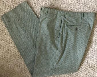 """Vintage 1960's Men's Plaid Pants Sears Kings Road Perma Prest Slacks 34-35"""" Waist / Inseam 30""""  Size Medium"""