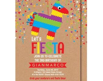 Mexican Birthday, Piñata, Fiesta Invitation, Printable or Printed