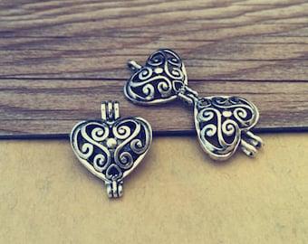 4pcs Antique silver hollow out  (copper) box charm pendant  20mmx23mm