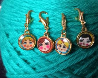Russian Nesting Dolls Knitting Stitch Markers-Set 4-Project Bag Zipper Charm-Purse/Planner Charm-Progress Keeper-Enamel Gold Tone Doll Face
