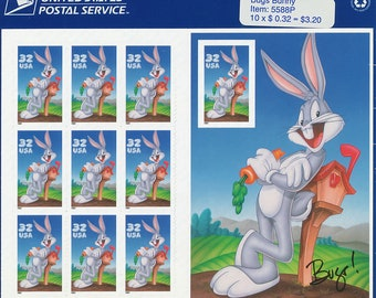 1997 Warner Brothers Bugs Bunny Sheet of Stamps