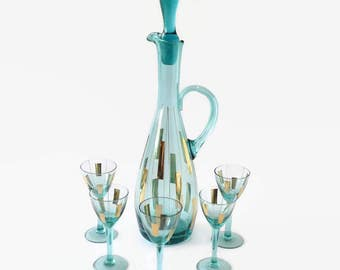 Mid Century Carafe and Glasses Set, Vintage Teal and Gold Wine Decanter Set, Atomic