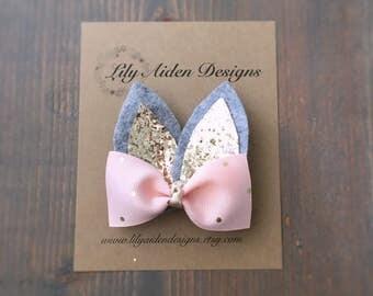 Easter hair clip/ Bunny clip/ Bunny ear clip/ girls hair clip