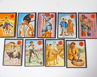 "70s 9pc Japanese vintage playing card ""People"""